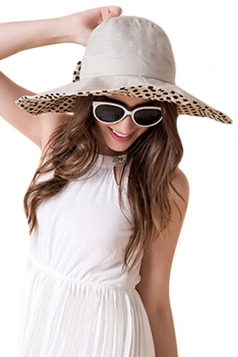 Womens Elegant Polka Dot Bow Decor Wide Brim Hat Khaki