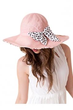 Womens Elegant Polka Dot Bow Decor Wide Brim Hat Pink