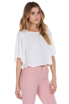 Womens Sexy Plain Flare Sleeve Chiffon Blouse White