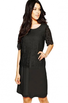 Womens Sexy Eyelash Lace Midi Smock Dress Black