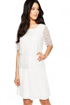 Womens Sexy Eyelash Lace Midi Smock Dress White