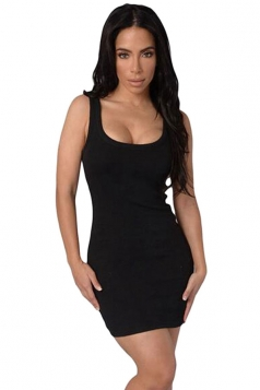 Womens Sexy Scoop Neck Body-hugging Mini Tank Dress Black