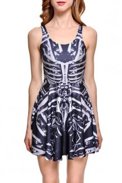 Womens Slimming Skeleton Printed Tank Skater Dress White