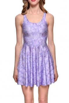 Womens Slimming Flower Printed Sleeveless Skater Dress Purple
