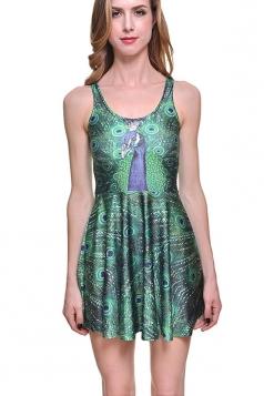 Womens Slimming Peacock Printed Sleeveless Skater Dress Green