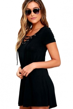 Womens Sexy Lace-up Front Short Sleeve Smock Dress Black