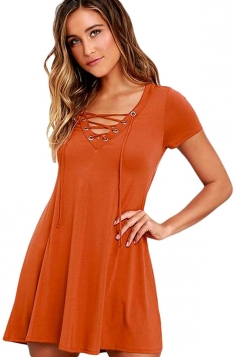 Womens Sexy Lace-up Front Short Sleeve Smock Dress Brown