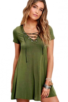 Womens Sexy Lace-up Front Short Sleeve Smock Dress Green
