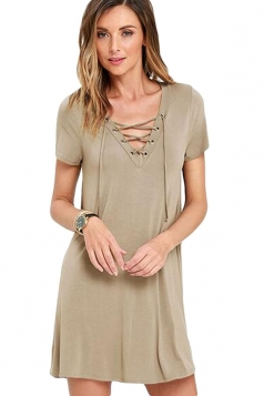 Womens Sexy Lace-up Front Short Sleeve Smock Dress Khaki