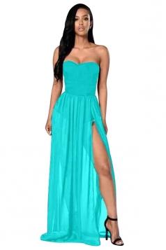 Womens Sexy Sheer Tube Side Slit Plain Maxi Dress Blue