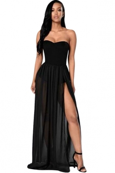 Womens Sexy Sheer Tube Side Slit Plain Maxi Dress Black