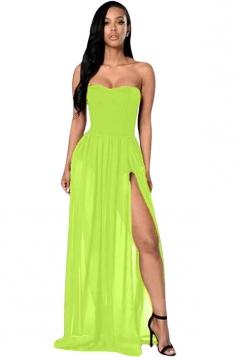 Womens Sexy Sheer Tube Side Slit Plain Maxi Dress Green