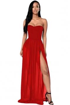 Womens Sexy Sheer Tube Side Slit Plain Maxi Dress Red