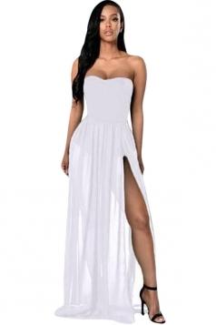 Womens Sexy Sheer Tube Side Slit Plain Maxi Dress White