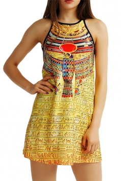 Womens Sexy Ancient Egyptian Printed Spaghetti Straps Smock Dress Gold