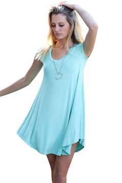 Womens Sexy Plain Short Sleeve Smock Dress Blue