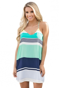 Womens Sexy Color Block Spaghetti Straps Smock Dress Turquoise