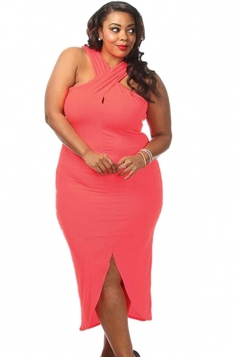 Womens Plus Size Cross Halter Slit Front Plain Dress Watermelon Red