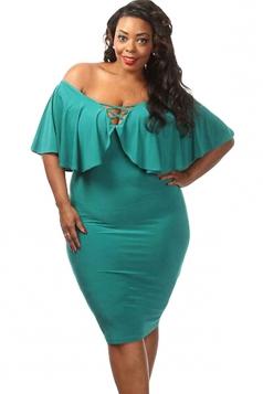 Womens Sexy Plus Size Ruffle Lace Up Midi Dress Turquoise