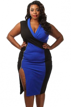 Womens Sexy Plus Size Colorblock Side Slit Midi Dress Blue