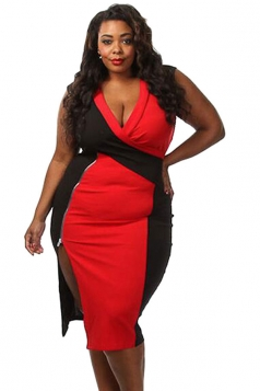 Womens Sexy Plus Size Colorblock Side Slit Midi Dress Red