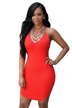 Womens Sexy Bodycon Strappy Backless Clubwear Dress Tangerine
