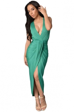 Womens Sexy V Neck Draped Slit Front Clubwear Dress Green