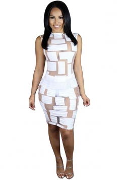 Womens Sexy See Through Sleeveless Bodycon Clubwear Dress White