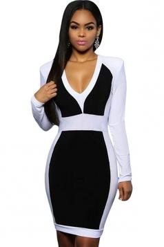 Womens Sexy V Neck Color Block Long Sleeve Midi Dress Black