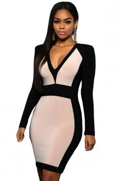 Womens Sexy V Neck Color Block Long Sleeve Midi Dress Khaki