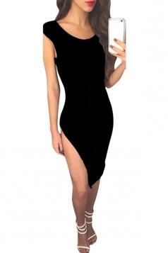 Womens Sexy Backless Side Slit Plain Clubwear Dress Black