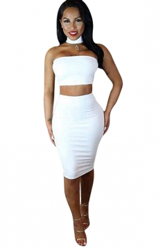 Womens Sexy Halter Off Shoulder Zipper Two-piece Skirt Suit White