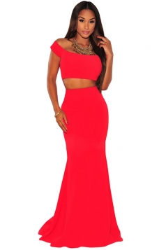 Womens Sexy Boat Neck Plain 2-piece Maxi Skirt Suit Red