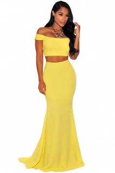 Womens Sexy Boat Neck Plain 2-piece Maxi Skirt Suit Yellow