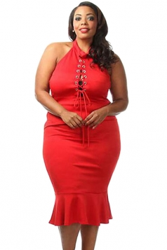 Womens Sexy Lace-up Front Mermaid Ruffle Plus Size Dress Red