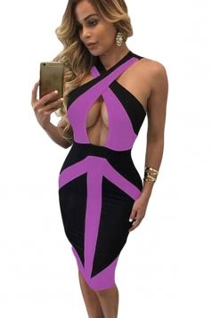 Womens Sexy Colorblock Cross Front Midi Bodycon Dress Purple