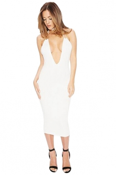 Womens Sexy Plunging Neck Halter Lace-up Backless Bodycon Dress White