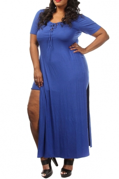 Womens Sexy Plus Size Lace-up Front Slit False 2-piece Dress Blue