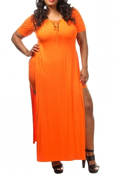 Womens Sexy Plus Size Lace-up Front Slit False 2-piece Dress Orange