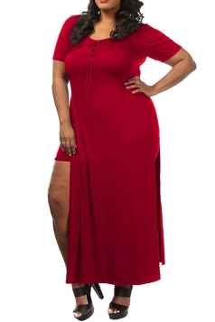 Womens Sexy Plain Plus Size Lace-up Front Slit False 2-piece Dress Red