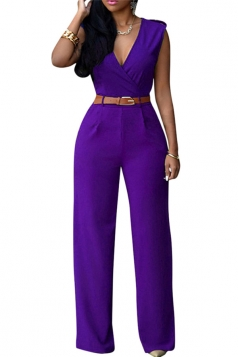 Womens Deep V Neck Sleeveless High Waist Wide Leg Jumpsuit Purple