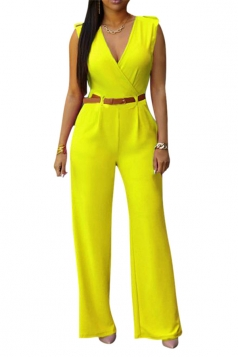 Womens Deep V Neck Sleeveless High Waist Wide Leg Jumpsuit Yellow