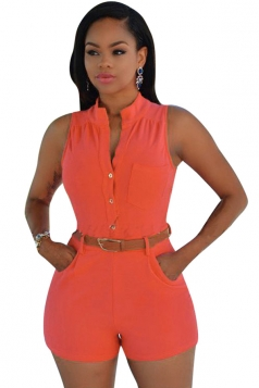 Womens Sexy Single-breasted High Waisted Sleeveless Romper Orange