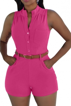Womens Sexy Single-breasted High Waisted Sleeveless Romper Rose Red