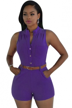 Womens Sexy Single-breasted High Waisted Sleeveless Romper Purple