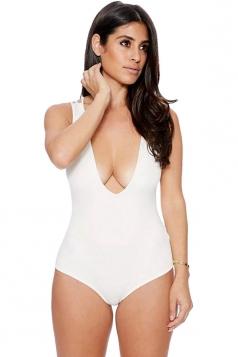 Womens Sexy Plain U Neck Strappy Back Bodysuit White