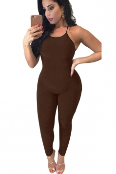 Womens Sexy Lace Up Backless Bodycon Plain Catsuit Coffee