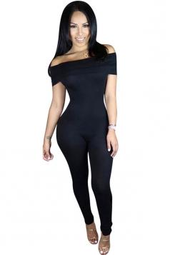 Womens Sexy Off Shoulder Plain Bodycon Catsuit Black