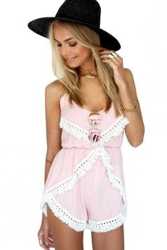 Womens Stylish U Neck Spaghetti Straps Lace-up Back Romper Pink