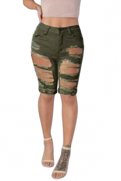 Womens Chic Ripped High Waisted Jeans Shorts Army Green